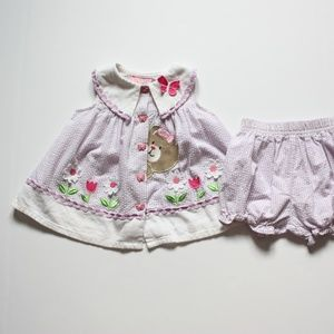Vintage Seersucker Gingham Purple Dress Set Sz 6-9